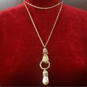Authentic Vintage Givenchy Gold Pearl Necklace